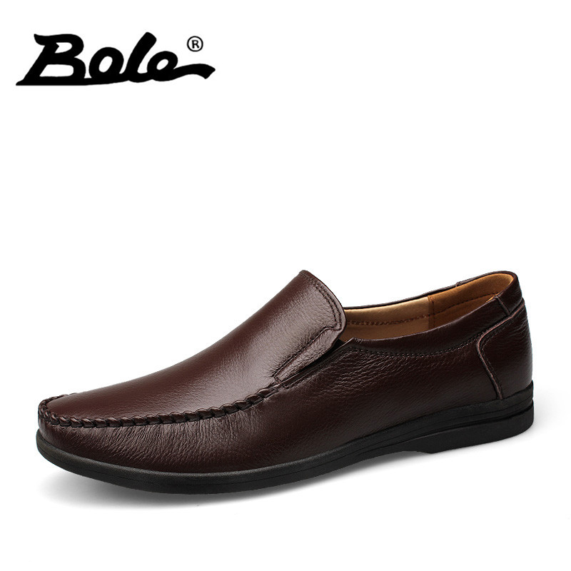 BOLE Fashion Designer Slip on Men Causal Shoes 2017 New Handmade Leather Men Shoes Flat Loafers Comfort Shoes Men Footwear 37-46 bole big size 36 47 genuine leather men shoes fashion designer slip on breathable men loafers handmade moccasins flats shoes men