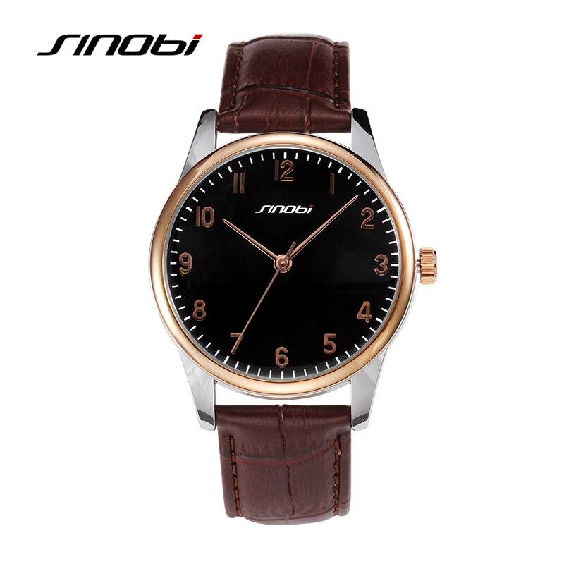 SINOBI Luxury Brand Watch Men Waterproof Leather Quartz-Watch Male Fashion Busines Watches Hour montre homme relogio masculino