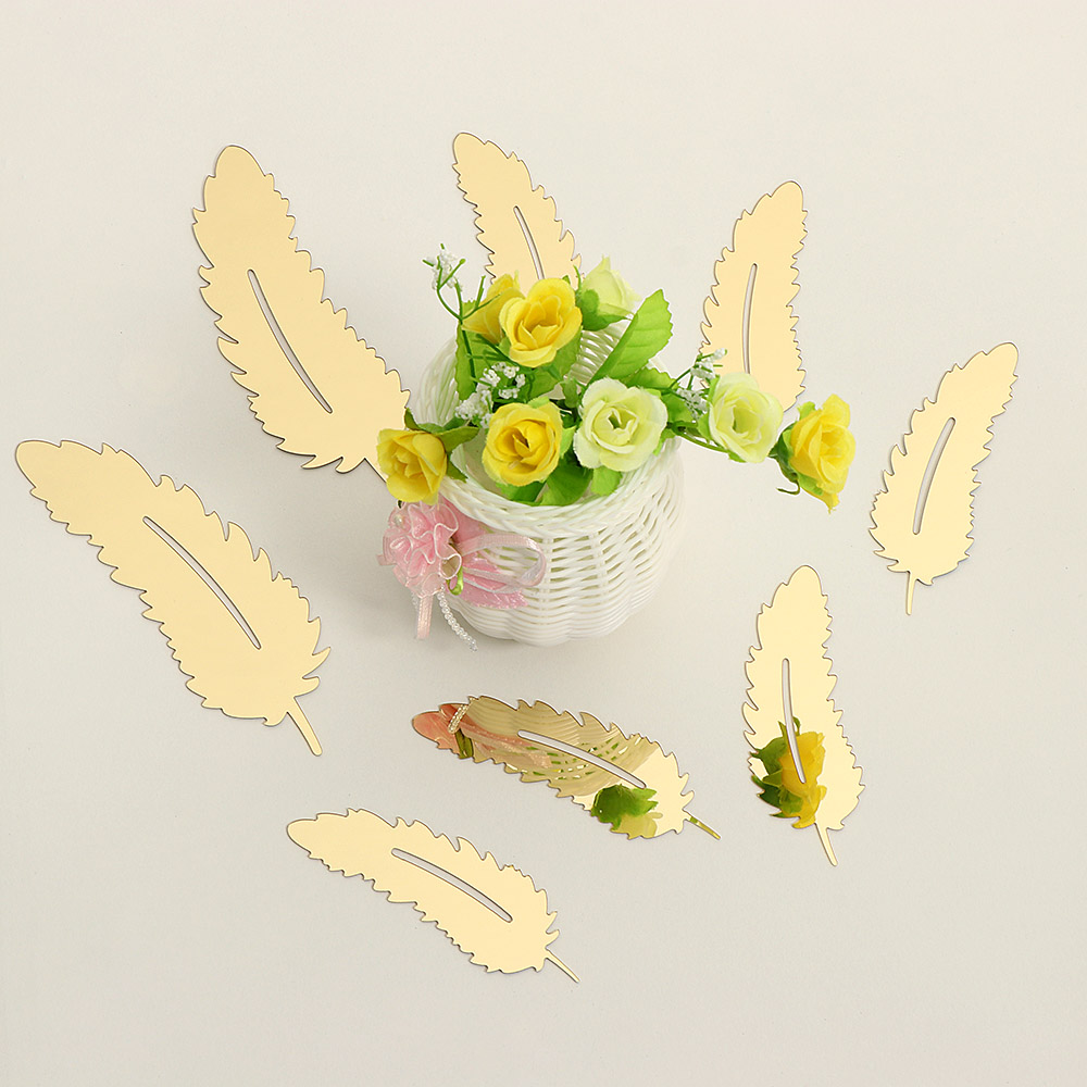8pcs/set 3D Mirror Wall Sticker Feather Acrylic Mural Decal ...