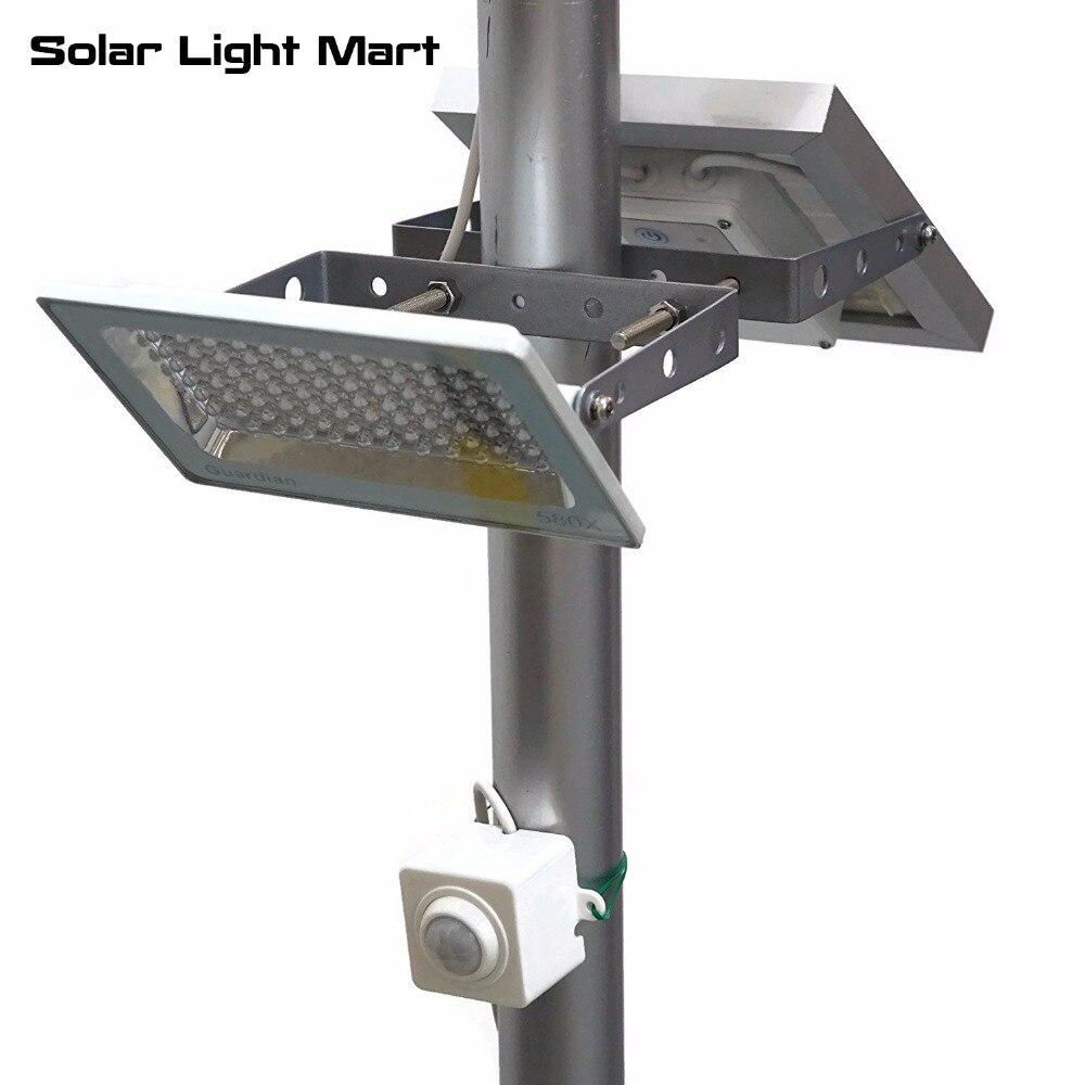 Guardian 580X Easy Install Waterproof Outdoor Solar Powered Motion Sensor  PIR LED Pole Light Lithium Battery 84 LED 3 Power Mode