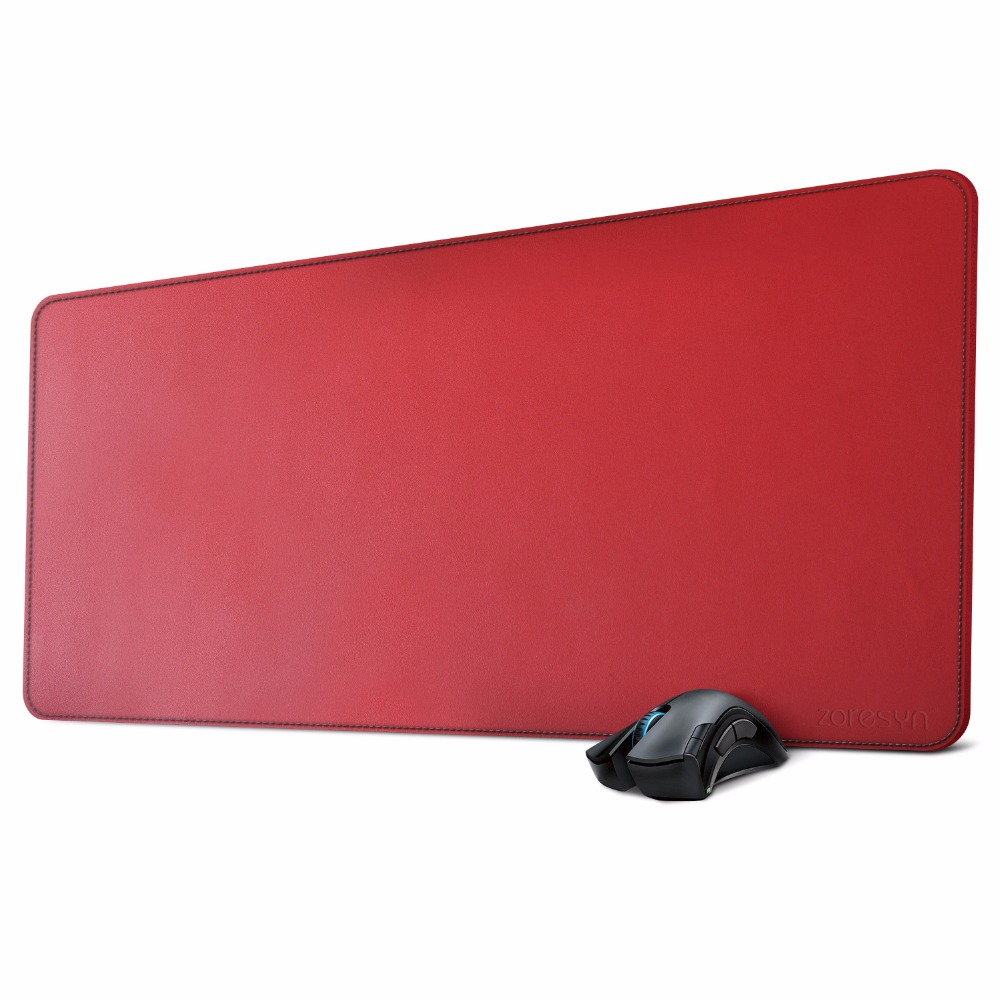 Large Artificial Leather Mouse Pad Desk Mat Big Keyboard Mats Extended Mousepad 90*40cm for Office,Household,Gaming (Red)