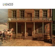 Laeacco Western Cowboy Tavern Horse Barrel Scene Photography Backgrounds Customized Photographic Backdrops For Photo Studio