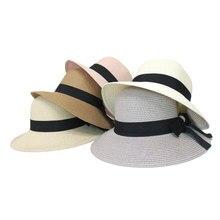 XCZJ Summer Beach Hat Women Panama Straw Caps Wide Brim Visors Casual Hats Lady Brand Hand Made Sun Flat Gorras H108