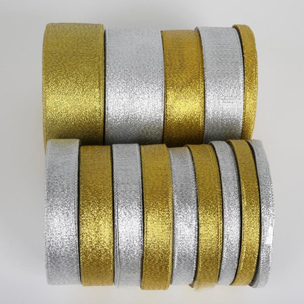 25 ярдов золото/серебро металлическая органза лента для свадебной вечеринки рождественские украшения для самодельного изготовления подаро...
