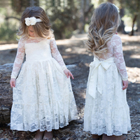 2017 Baby Toddlers Girls White Wedding Princess Party Dresses Teenager Kids Long Sleeve 2 4 6