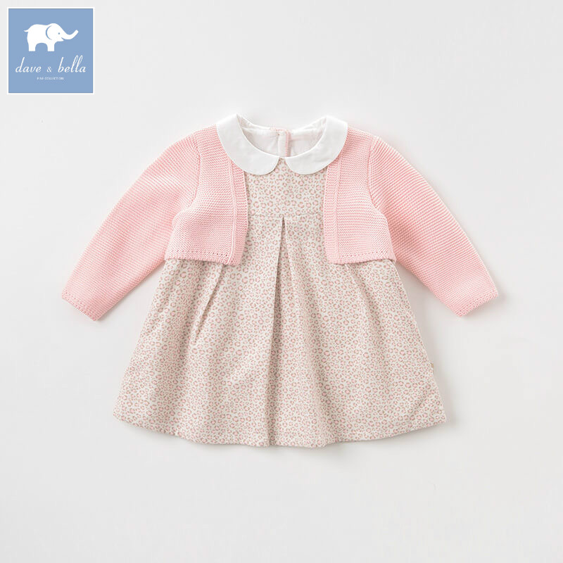 DB8431 dave bella baby autumn Knitted Dress girls long sleeve dress children party birthday costumes