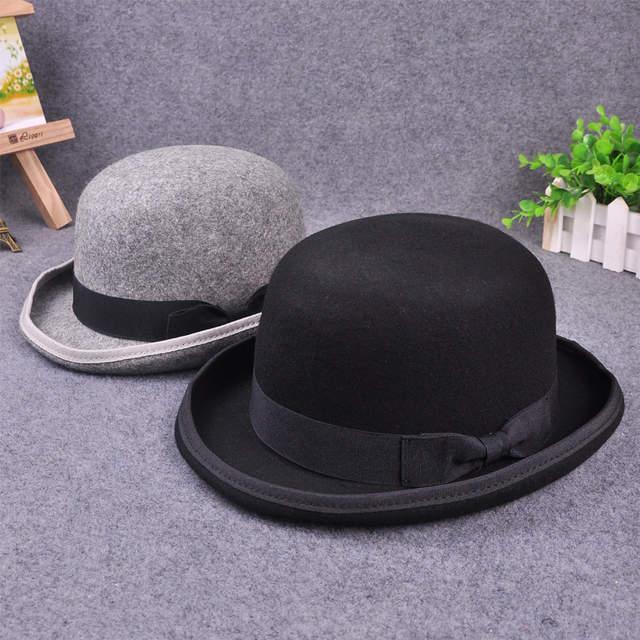 0236ad8a3d8 placeholder Paris fashion Men Wool Jazz Hat Dome Floppy Brim Fedora Hat  Black Grey Vintage Dress Casual