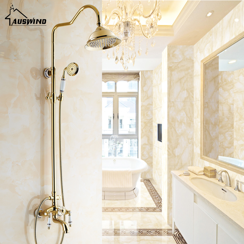 Antique Rose Gold Plated Shower Gold Shower Set Brass Faucet With Black And White Pattern Decoration Porcelain Shower flowers butterflies pattern waterproof shower curtain