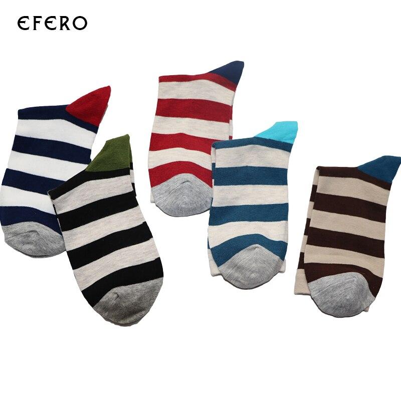 efero 3pair Color Stripes Men Crew Socks of cute Sock Casual Mens Dress Socks Business Designer Brand Long Socks Sokken Manne