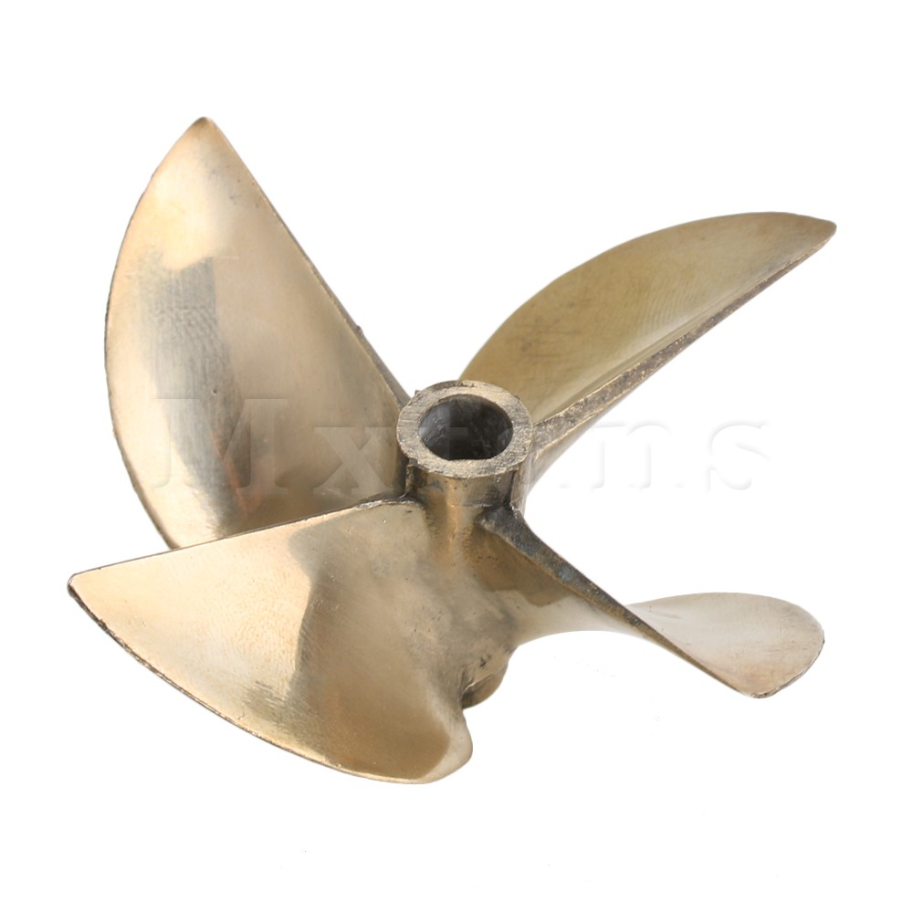 Mxfans RC Boat Parts 4 Blade Aluminum Alloy Prop Propeller Out Diameter 67mm P1.7 with Shaft Center Aperture Dia 6.35mm(1/4
