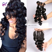 Brazilian Virgin Hair Loose Wave 3 Bundles With Closure Wet and Wavy Brazilian virgin Hair Bundles DHL/Ups 2-4 Days Shipping