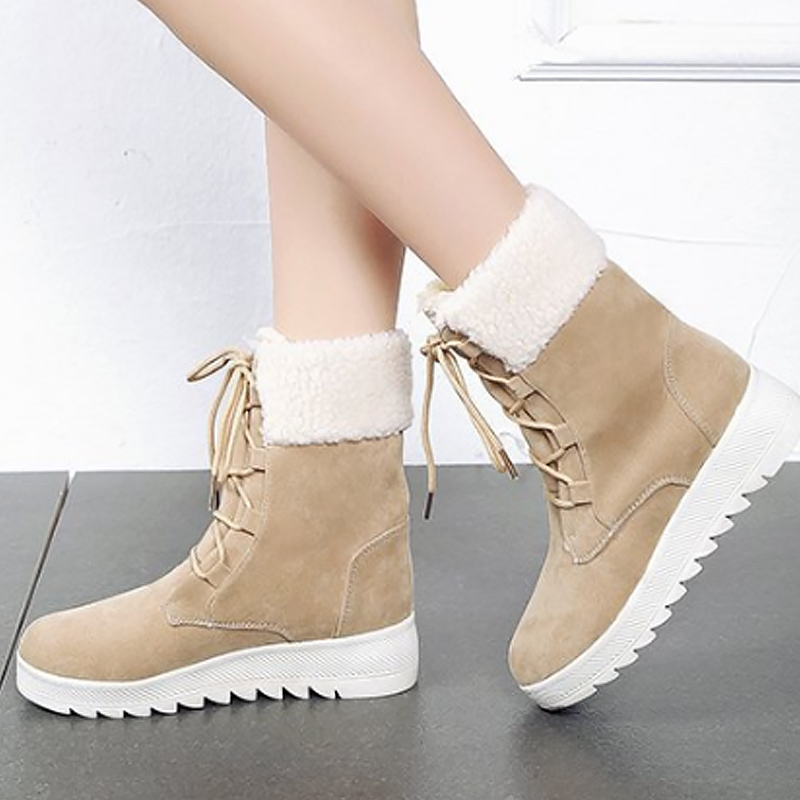 Winter shoes solid snow boots for women 2018 classic style cross-tied mid-calf boots plush warm boots sapato feminino winter women snow boots warm plush shoes cross tied mid calf flat platform boots female buckle fashion plus size shoes abt1077