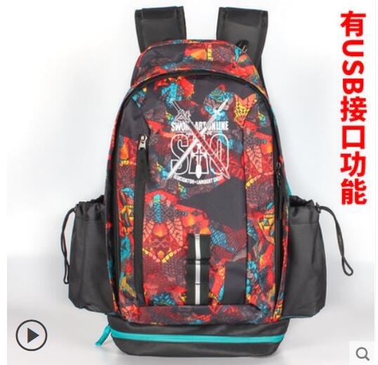 Anime Sword Art Online COSPLAY Casual fashion men and women large-capacity travel backpack sword art online 5 phantom bullet death gun cosplay shoe party boots high quality custom made