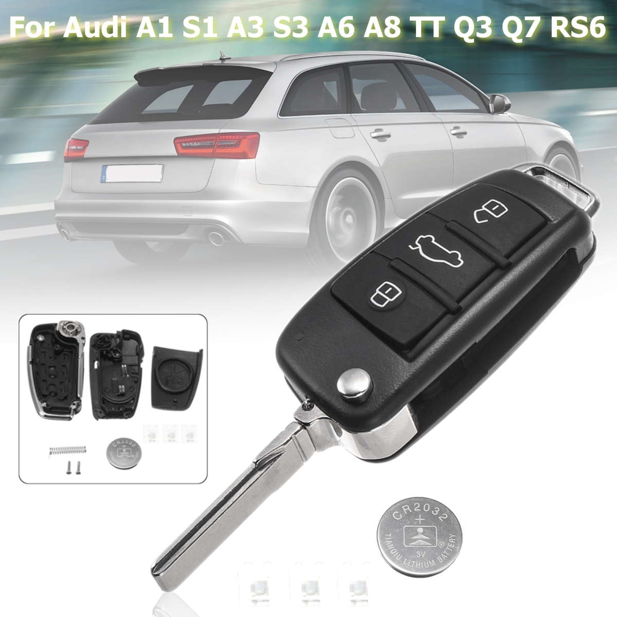 US $3 71 7% OFF|With 3 switches 1 CR2032 battery 3 Buttons Remote Key Fob  Case Shell For Audi A3 A4 A6 A8 Q7 TT 1997 2018 2017 2016 2015 2010-in Car