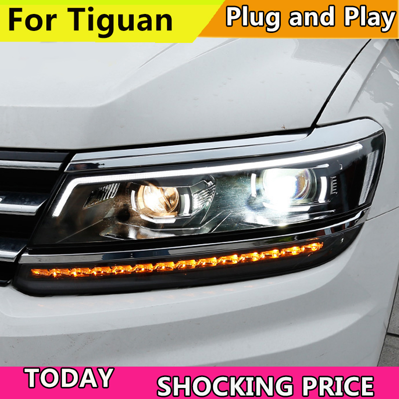 Car Styling For VW Tiguan headlights 2017 For Tiguan head lamp led DRL Bi-Xenon Lens HID KIT headlight Dynamic turn signal car styling for mitsubishi pajero headlights 2000 2012 pajero v73 led headlight drl turn signal drl h7 hid bi xenon lens