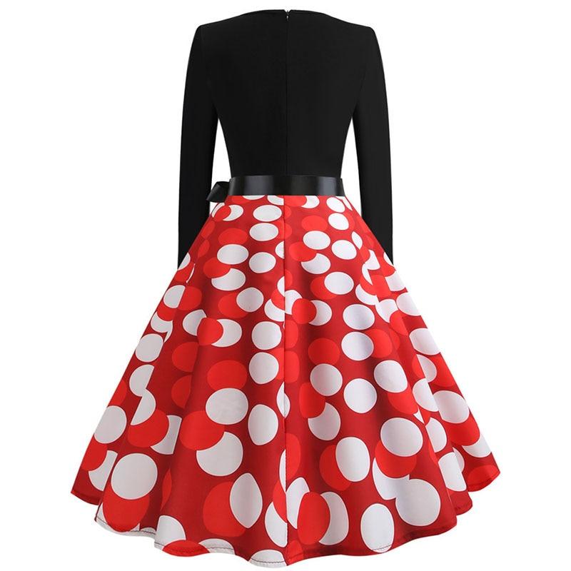 Plaid Print Vintage Dress Women 19 Christmas Casual Robe Femme Plus Size Dress Elegant Party Dresses Long Sleeve Vestidos 44