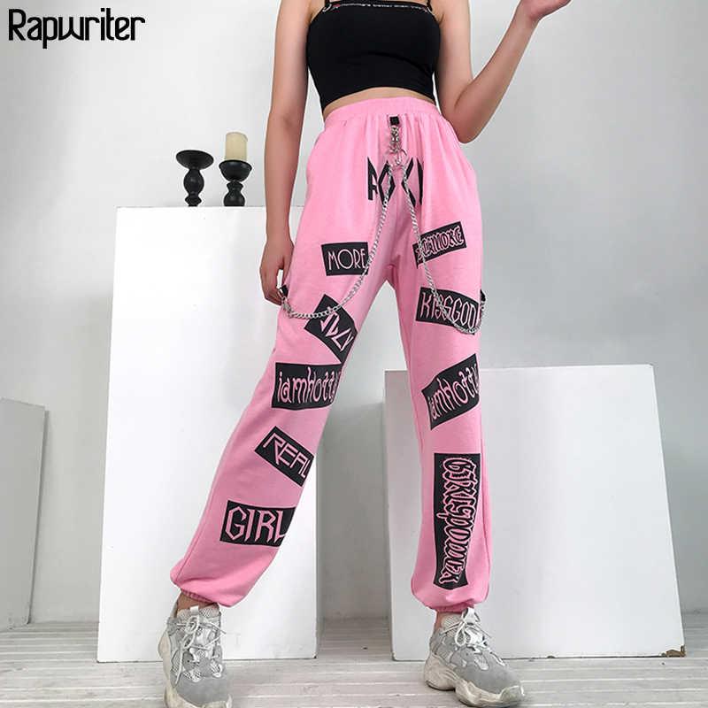 Rapwriter, панк стиль, цепочка, пэчворк с высокой талией, штаны с надписями, женские 2019, Осенние повседневные брюки-карго, женские штаны
