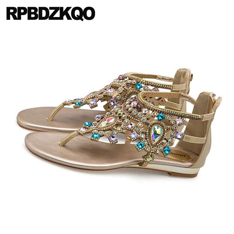 d5f36073c5b646 ... Silver Diamond Jewel  Shoes Rhinestone Ethnic Crystal Blue Thong Flat  Jewel Strappy Ladies Fashion Open Toe T Strap Women ...