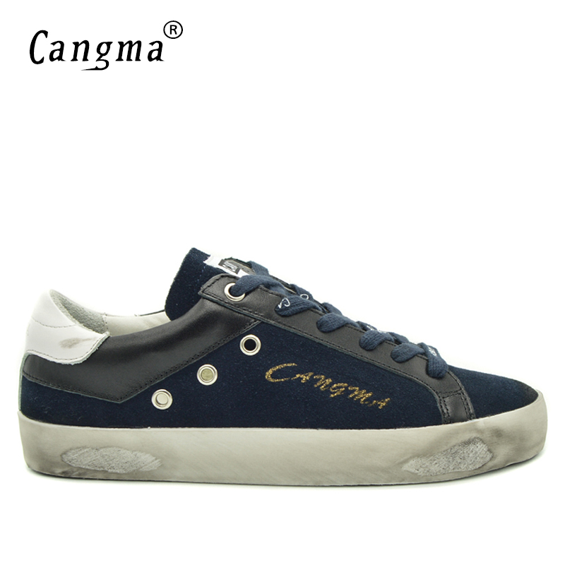 CANGMA Top Quality British Style Sneakers Men Shoes Navy Blue Man Genuine Leather Suede Flat Male Casual Shoes Footwear Handmade top brand high quality genuine leather casual men shoes cow suede comfortable loafers soft breathable shoes men flats warm
