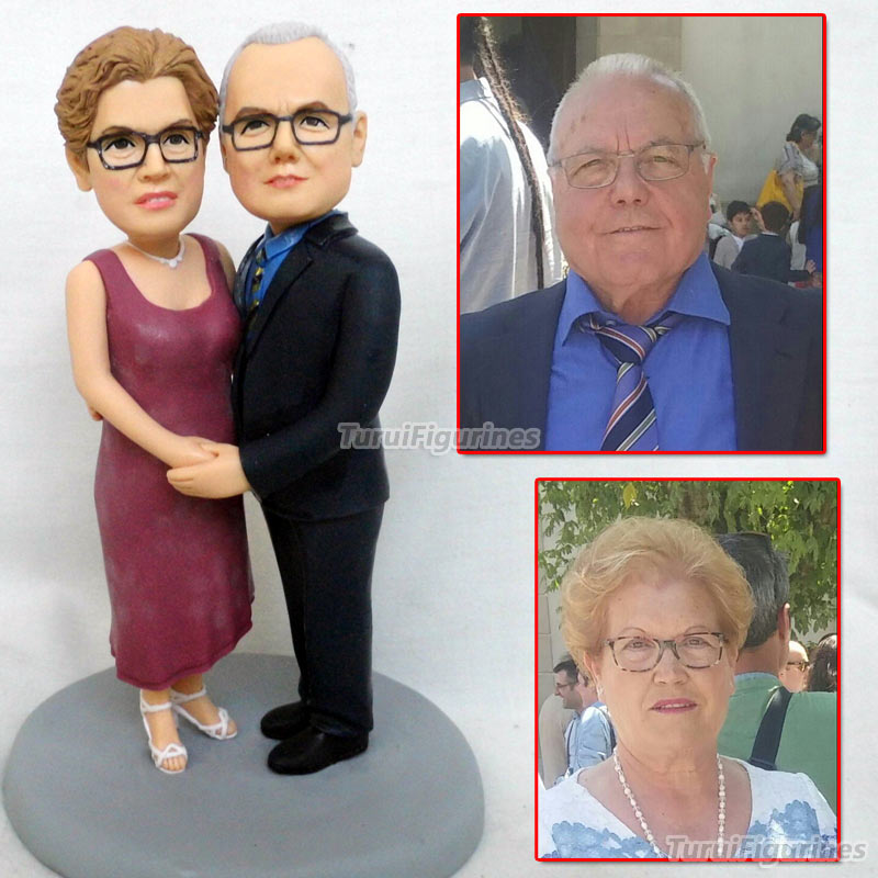 Personnalisé ooak polymère argile poupée mariage anniversaire gâteau topper cadeau pour parents couple présent personnalisé animal homme portrait - 2
