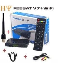 3 UNIDS FREESAT V7 Receptor de Satélite Youtube Videos gratis DVB-S2 1080 p full hd freesat V7 set top box con WIFI USB S2