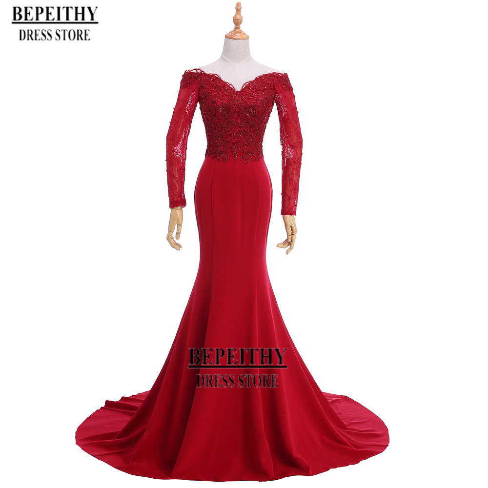 Elegant Sweatheart Off The Shoulder Red Evening Dress Long Sleeve Cheap Mother Of The Bride Dresses