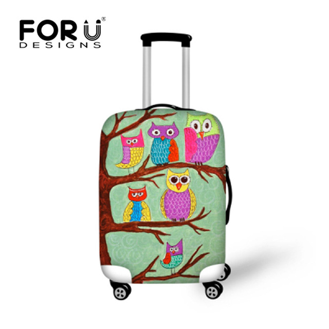 FORUDESIGNS Waterproof Travel Luggage Cover Printing Owl Suitcase Cover to 18-30inch Trolley Case Elastic Protective Dust Cover