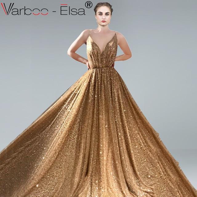 dcbbe3307b VARBOO ELSA Hot Sale Shiny Royal Blue Evening Dresses Sexy Backless  Sleeveless Party Ball Gown vestido de festa Long Prom Dress