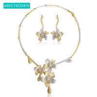 MECHOSEN Women Bridal Wedding Necklace Earrings Sets Romantic Flower 2 Tone Gold Color Silver Color Indian