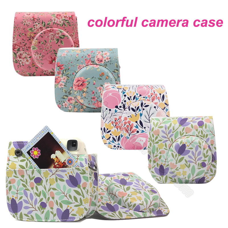 Fujifilm Instax Mini Camera colorful Case for Fuji 9 8 with PU Leather - Rose Blue pink, Forest green Pink