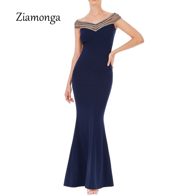 Ziamonga Summer Party Dress Elegant Long 2018 Slim Lady Trumpet Maxi Dress  For Evening Party Prom 204a761169c9