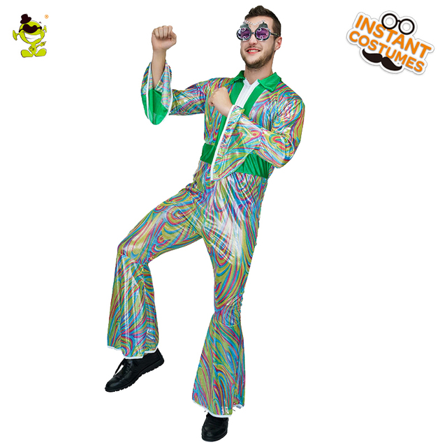 70280887f31dc4 Volwassen mannen 70 s Disco Kostuum Carnaval Party Masquerade Dance Disco  Kleding Fancy Dress Club Disco Kostuums