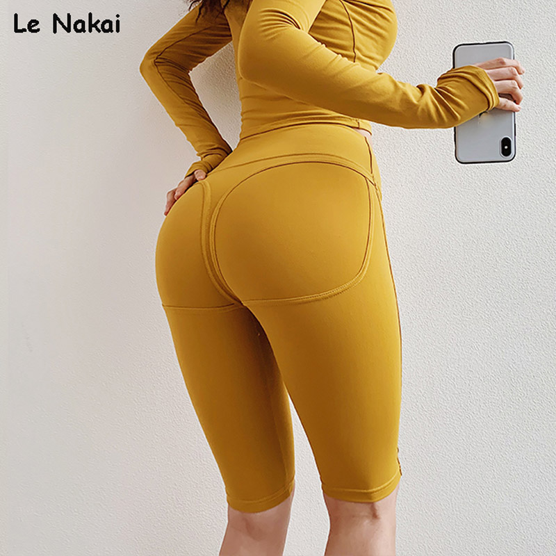 Women Big Booty Biker Shorts High Waisted Fitness Shorts Compression Workout Shorts Spandex Scrunch Butt Yoga Gym Short Leggings