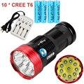 Новый Портативный LED Фонари 18000 люмен 10 х CREE XM-L T6 LED Фонарик Факел Для Кемпинга, туризм Охота Рабочая Лампа
