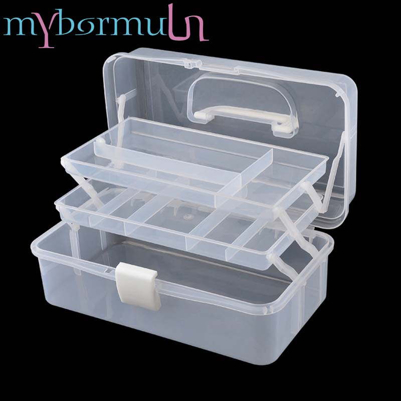 1 Big Plastic Empty Storage Box For Long Nail Files/Brush/Pusher/Scissor Nail Tools Jewelry Beads Display Storage Case Container