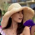 Летние шляпы 2016 новый ручного вязания тканые пляжный отдых шляпа большой шляпе женщины соломенной шляпе свободного покроя шапки сплошной вс Hat Cap оптовая продажа