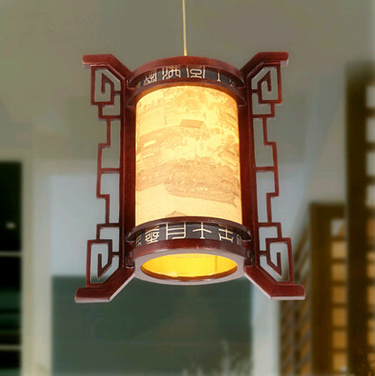 Chinese antique carved wood art frame Pendant Lights Traditional vintage rural style LED lamp for balcony&corridor&porch MYR024 southeast asia style hand knitting bamboo art pendant lights modern rural e27 led lamp for porch