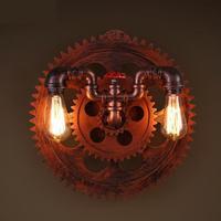 Retro rustic Gear light Bar Loft Industrial Wall light Creative Cafe Restaurant art Pipe wall lamp Lamparas De Pared E27 holder