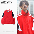 ULZZANG mesh lining stitching color spring thin retro wind movement and trendsetter raglan sleeve red clip