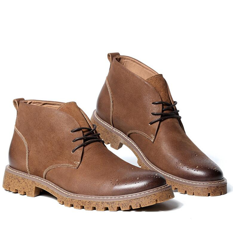 New British Style Mens Carved Brogue Shoes Business Man Wing Tips Ridding Boots Genuine Leathe Martin Boots
