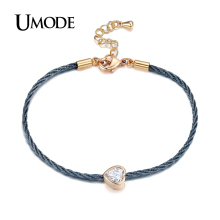 UMODE Charm Love Heart Chain Rope Bracelet Female Rose Gold Color Bracelet Jewelry For Women Bijoux Pulsera Mother Gifts AUB0089