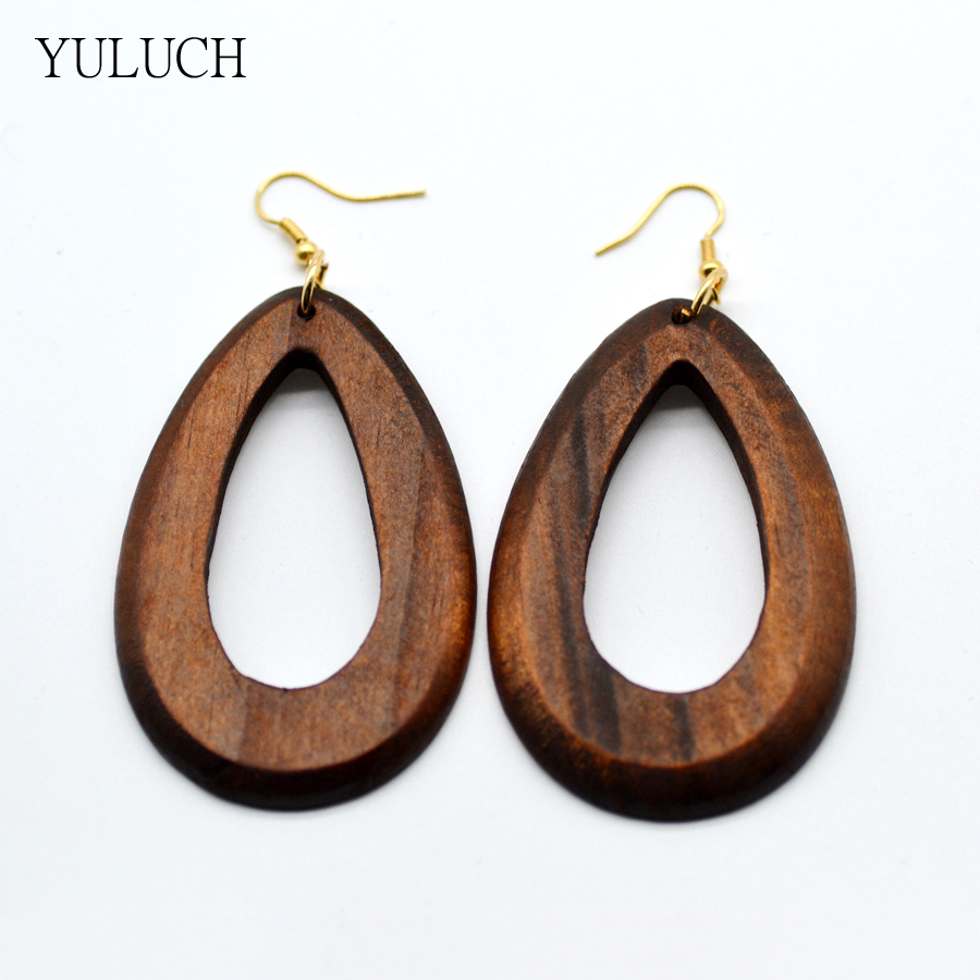 Brown color hoop wood earring hollow 2016 personality New design Big handmade