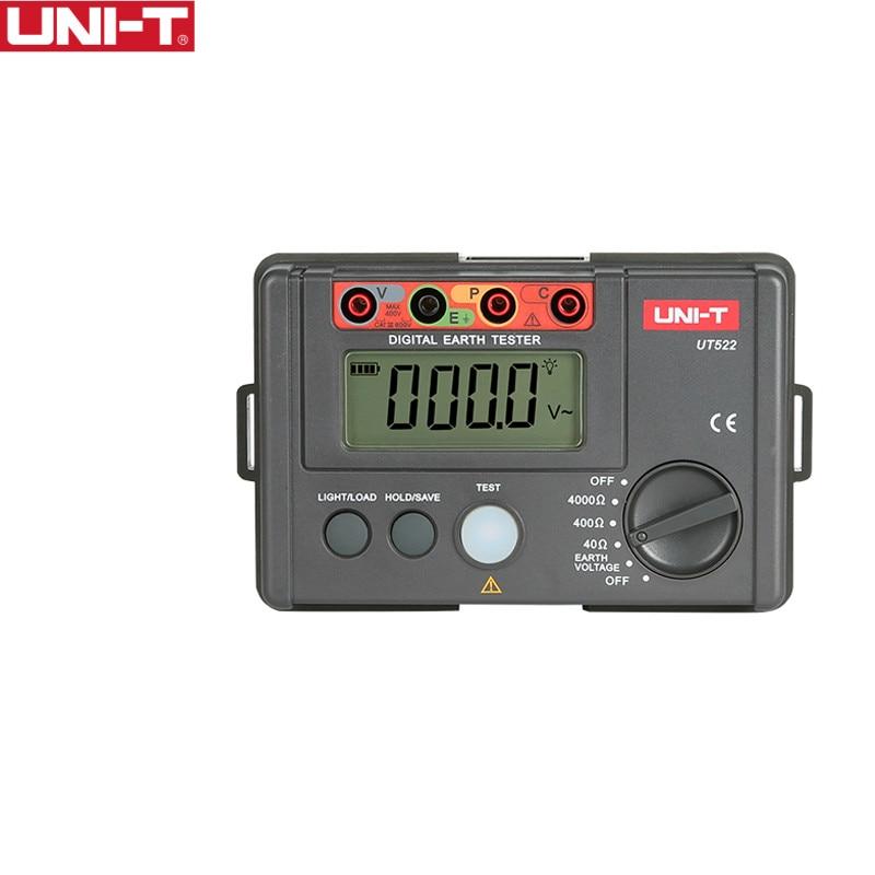 UNI-T UT522 Digital Earth Ground Resistance Tester AC Earth Insulation Resistance Tester uni t ut501a 2 8 lcd insulation resistance tester red grey 6 x aa