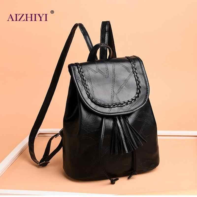 ... Women Casual Tassels Black Backpack PU Leather Teenage Girl Schoolbag Travel  Rucksack Shoulder Classic PU Solid ... 2db7175839be7