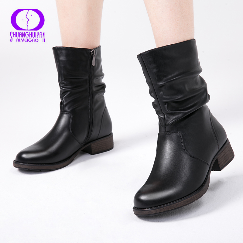 b2613bdc1ec05 AIMEIGAO High Quality Flat Ankle Boots For Women Retro Style Short Ankle  Boots Warm Women Boots Soft Leather Flats Booties