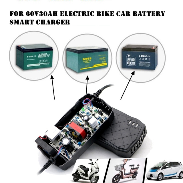 60V 30AH Smart Charger Electric Bike Scooter Car Adapter LED Display AGM Gel VRLA Lead Acid Battery Charger DC 4A US EU Plug