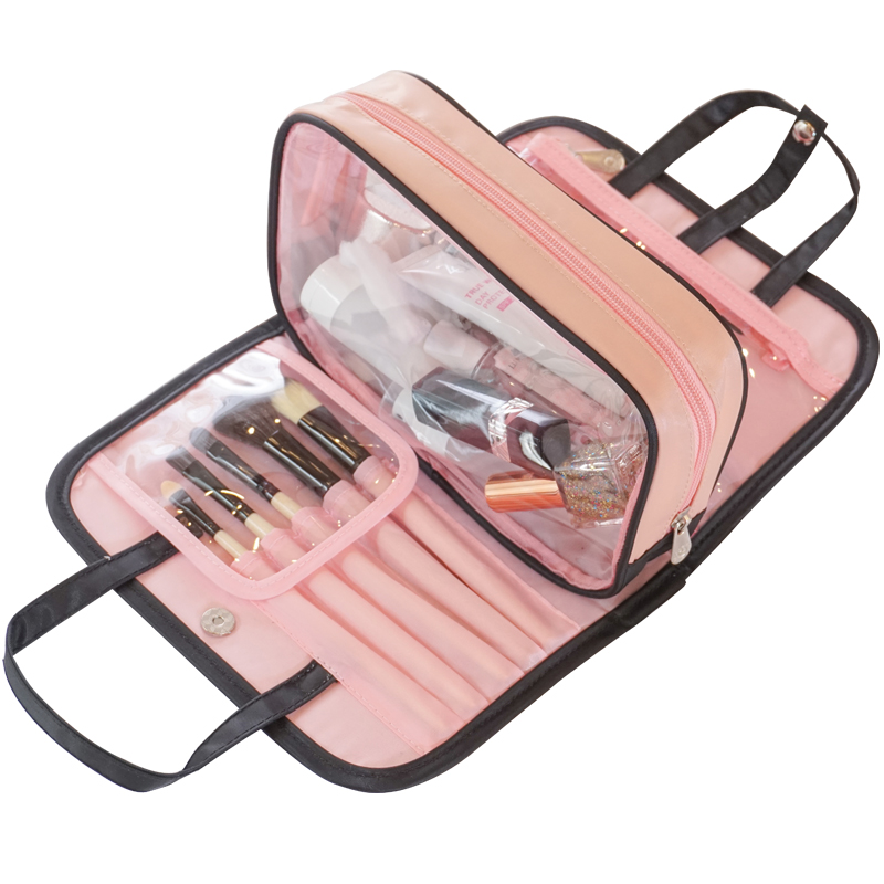 Women Travel Cosmetic Bag Double Layer Transparent Beauty Zipper Makeup Case Pouch Toiletry Organizer Holder Wash Make Up Bag