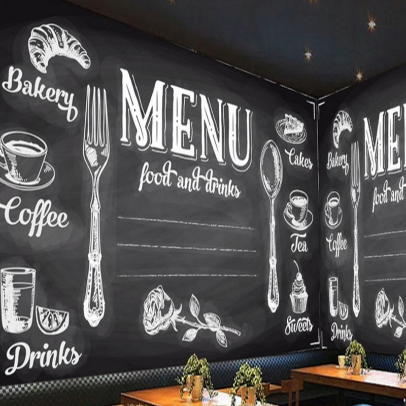 Custom photo wallpaper Custom American Blackboard Style Large Mural Restaurant Bar Cafe Kitchen Decorative Wallpaper custom size photo 3d wood blackboard graffiti wallpaper pizza shop snack bar restaurant burgers store wallpaper mural