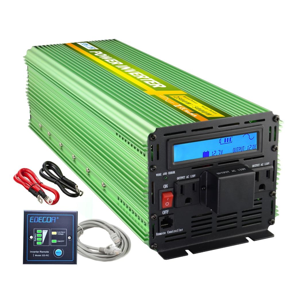 US standard 12V 110V 120V pure sine wave power inverter 2500w 5000w peak 60Hz converter with Remote controller