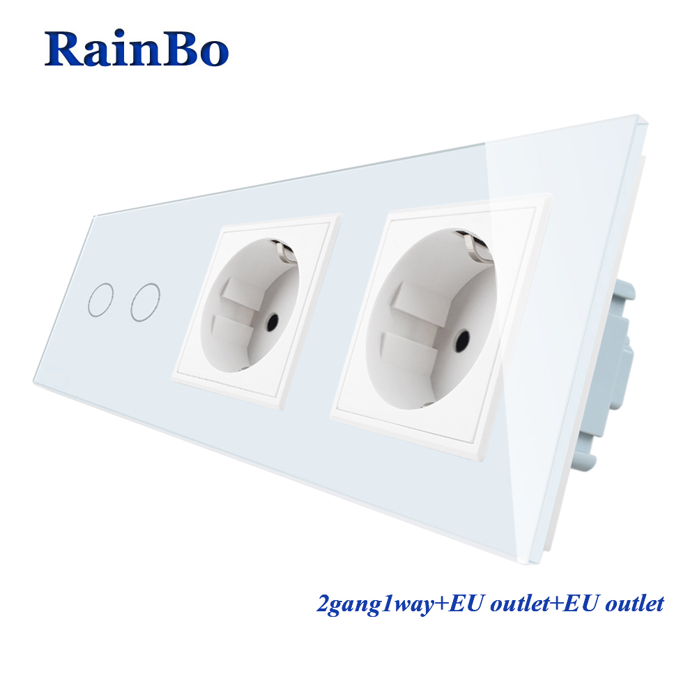 RainBo Crystal Glass Panel Electronic Wall Socket EU Touch Switch Control Screen Light Switch 2gang 1way